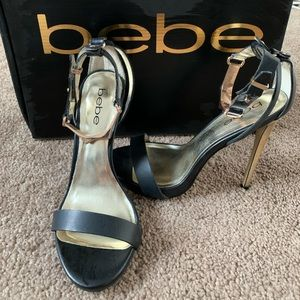 Size 6 Bebe heels with rose gold ankle strap